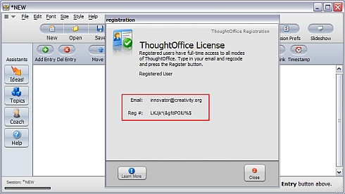 ThoughtOffice Creativity Software - registration information 2