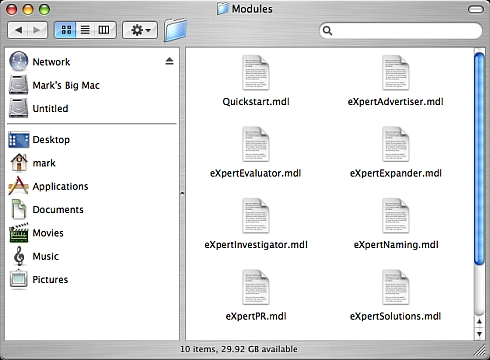 Installing ThoughtOffice on a Mac: ThoughtOffice Module Sub Folder
