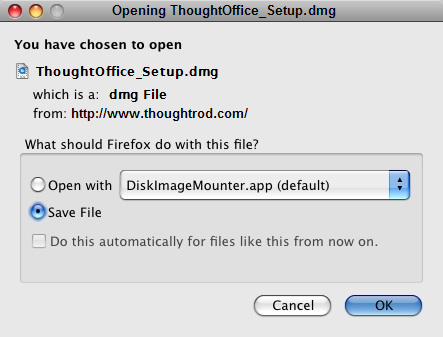 Downloading and Installing ThoughtOffice on a Mac