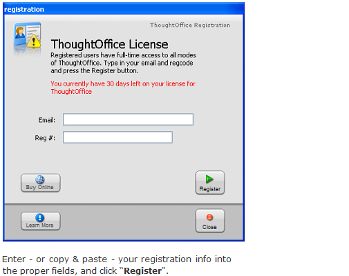 Install ThoughtOffice - Register
