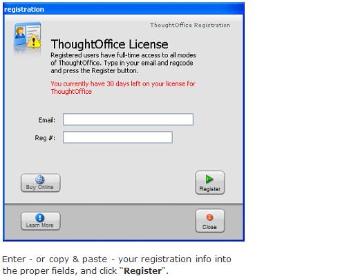 Install ThoughtOffice - Register